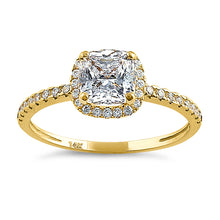 Load image into Gallery viewer, Solid 14K Yellow Gold Halo Cushion Cut CZ Engagement Ring