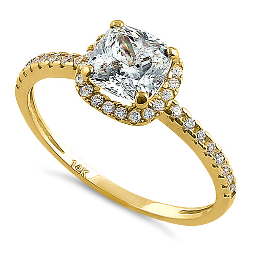 Solid 14k Yellow Gold Halo Cushion Cut Cz Engagement Ring