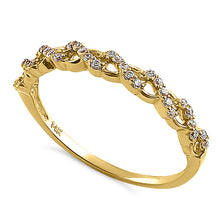 Load image into Gallery viewer, Solid 14K Yellow Gold Half Eternity Twist Round CZ Ring