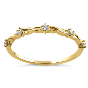 Solid 14K Yellow Gold Simplistic Twist Half Eternity Round CZ Ring