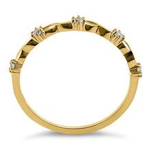 Load image into Gallery viewer, Solid 14K Yellow Gold Simplistic Twist Half Eternity Round CZ Ring