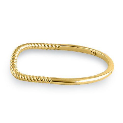 Solid 14K Yellow Gold Curved Rope Ring