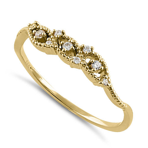 Solid 14K Yellow Gold Abstract CZ Ring