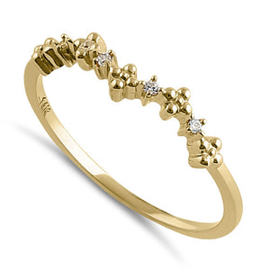 Solid 14K Yellow Gold Sparkle CZ Ring