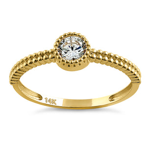 Solid 14K Yellow Gold Beaded Round CZ Ring