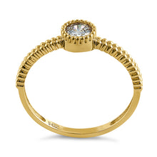 Load image into Gallery viewer, Solid 14K Yellow Gold Beaded Round CZ Ring