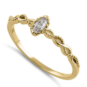 Solid 14K Yellow Gold Elegant Marquise CZ Ring