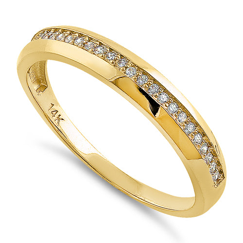 Solid 14K Yellow Gold Channel Half Eternity Round CZ Ring