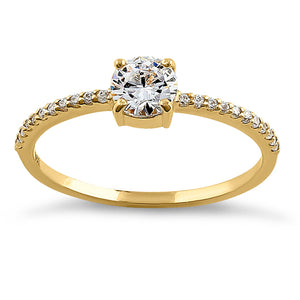 Solid 14K Yellow Gold Classic Round Clear CZ Engagement Ring