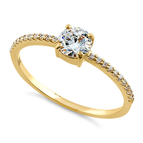 65e9c2fa7c1 Solid 14K Yellow Gold Classic Round Clear CZ Engagement Ring