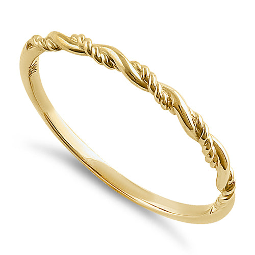 Solid 14K Yellow Gold Simple Twist Ring