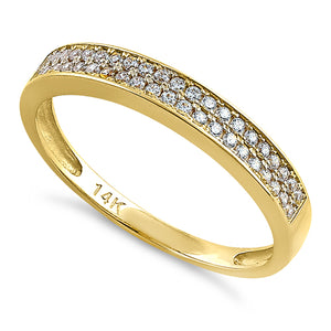 Solid 14K Yellow Gold Double Row CZ Ring