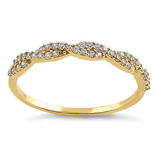 Load image into Gallery viewer, Solid 14K Yellow Gold Twist Round Clear CZ Ring