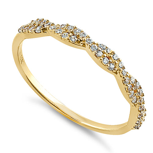 Solid 14K Yellow Gold Twist Round Clear CZ Ring