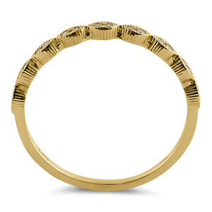 Solid 14K Yellow Gold Thin Half Eternity CZ Ring