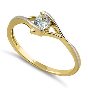 Solid 14K Yellow Gold CZ Ring