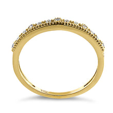 Load image into Gallery viewer, Solid 14K Yellow Gold Half Eternity Abstract Round CZ Ring