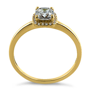 Solid 14K Yellow Gold Simple Halo Cushion Cut CZ Engagement Ring