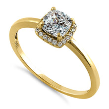 Load image into Gallery viewer, Solid 14K Yellow Gold Simple Halo Cushion Cut CZ Engagement Ring
