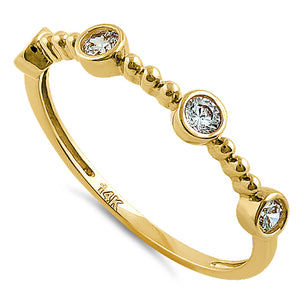 Solid 14K Yellow Gold Half Eternity Four Round CZ Ring