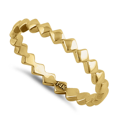Solid 14K Yellow Gold Diamond Cut Band
