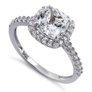 Solid 14K White Gold Cushion Cut Halo CZ Engagement Ring