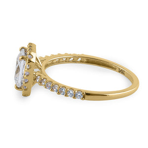 Solid 14K Yellow Gold Radiant Cut Halo CZ Engagement Ring