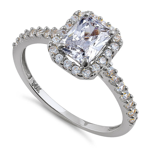 Solid 14K White Gold Radiant Cut Halo CZ Engagement Ring