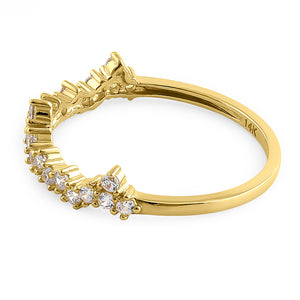 Solid 14K Yellow Gold Jagged Crown CZ Ring
