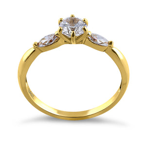 Solid 14K Yellow Gold Round & Marquise Cut CZ Engagement Ring