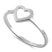 Load image into Gallery viewer, Solid 14K White Gold Heart Outline Ring
