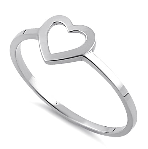 Solid 14K White Gold Heart Outline Ring