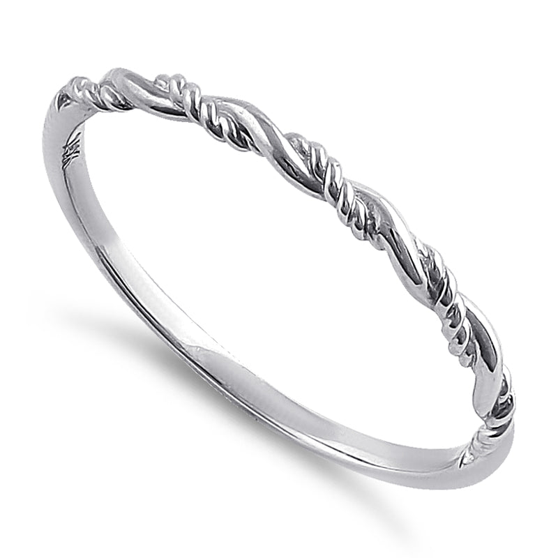Solid 14K White Gold Simple Twist Ring