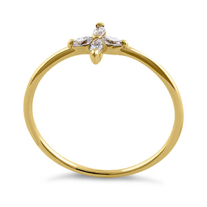 Solid 14K Yellow Gold Cross Marquise Cut CZ Ring