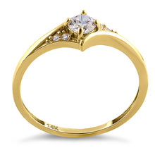 Load image into Gallery viewer, Solid 14K Yellow Gold Fancy Round Cut CZ Engagement Ring