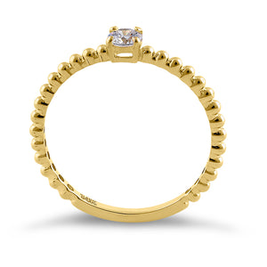 Solid 14K Yellow Gold Beaded Round CZ Engagement Ring