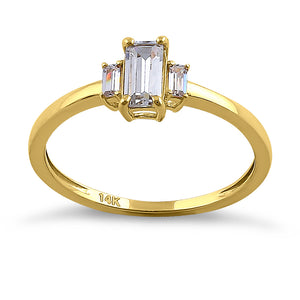 Solid 14K Yellow Gold Baguette Straight Cut CZ Engagement Ring