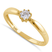 Load image into Gallery viewer, Solid 14K Gold Round Solitaire CZ Engagement Ring