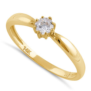 Solid 14K Gold Round Solitaire CZ Engagement Ring