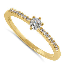 Load image into Gallery viewer, Solid 14K Gold Clear CZ Engagement Ring