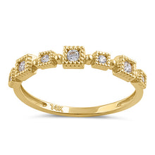 Load image into Gallery viewer, Solid 14K Gold Sqare Pattern CZ Ring