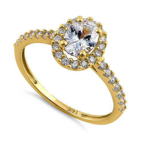 Solid 14K Yellow Gold Oval Cut Halo CZ Engagement Ring