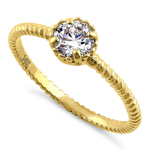 Solid 14K Yellow Gold Round Cut Rope CZ Ring