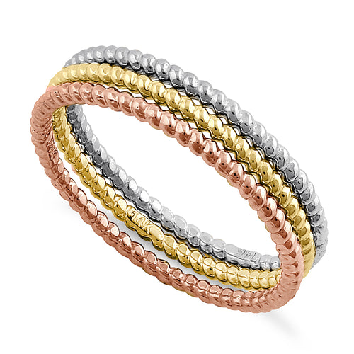 Solid 14K Yellow, Rose, & White Gold Rope Ring Set