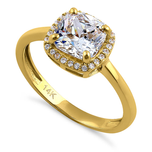 Solid 14K Yellow Gold Cushion Cut Halo CZ Engagement Ring