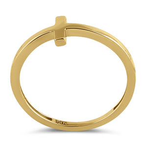 Solid 14K Yellow Gold Cross Ring