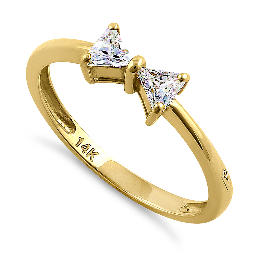 Solid 14K Yellow Gold Bow Tie Triangle Cut CZ Ring