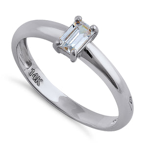 Solid 14K White Gold Baguette Straight Cut CZ Engagement Ring