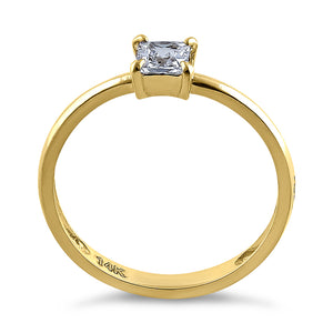 Solid 14K Yellow Gold Solitaire Princess Cut CZ Engagement Ring