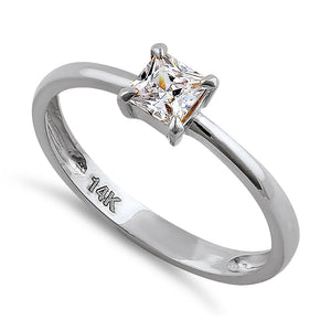 Solid 14K White Gold Solitaire Princess Cut CZ Engagement Ring